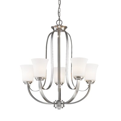Halliwell 5-Light Shaded Chandelier Finish: Brushed Nickel