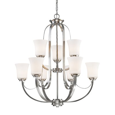 Halliwell 9-Light Shaded Chandelier Finish: Brushed Nickel
