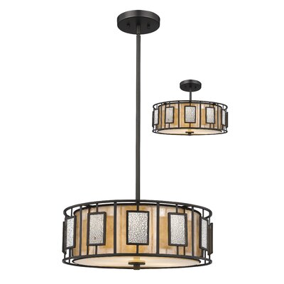 Hyler 3-Light Drum Pendant Size: 8 H x 18 W x 18 D