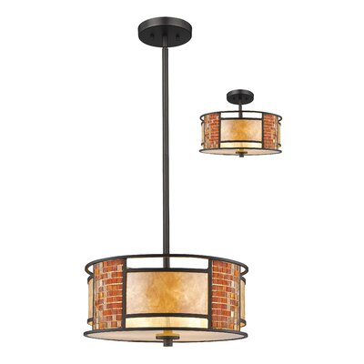 Brittain 3-Light Drum Pendant Size: 8 H x 14 W x 14 D