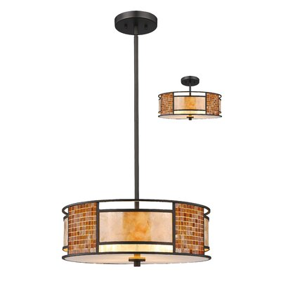 Brittain 3-Light Drum Pendant Size: 8 H x 18 W x 18 D