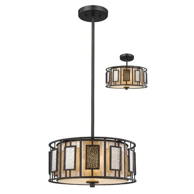 Hyler 3-Light Drum Pendant Size: 8 H x 14 W x 14 D