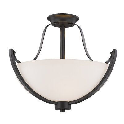 Whelan 3-Light Semi Flush Mount Finish: Bronze