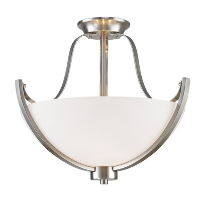 Whelan 3-Light Semi Flush Mount Finish: Brushed Nickel