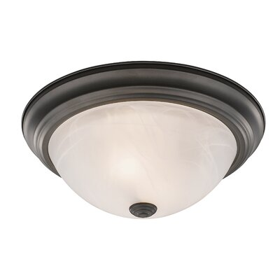 Wellersburg 2-Light Flush Mount Finish: Bronze, Shade Color: Frosted Glass, Size: 5.25 H x 11 W x 11 D