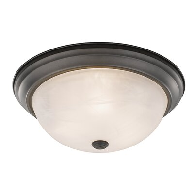 Wellersburg 3-Light Flush Mount Finish: Bronze, Shade Color: Frosted Glass