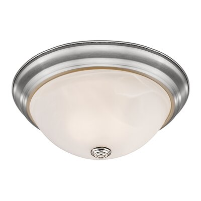 Athena 3-Light Flush Mount Finish: Brushed Nickel, Shade Color: Frosted Glass