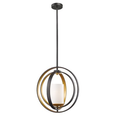 Kiara 1-Light Mini Pendant Finish: Brushed Gold, Size: 17.5 H x 11.38 W x 9 D