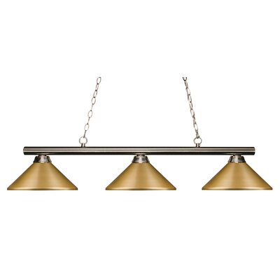 Sharp Shooter 3-Light Billiard Light Shade Color: Satin Gold