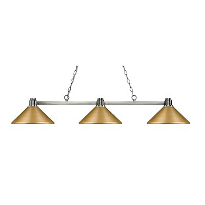 Centeno 3-Light Billiard Light Finish: Brushed Nickel, Shade Color: Satin Gold