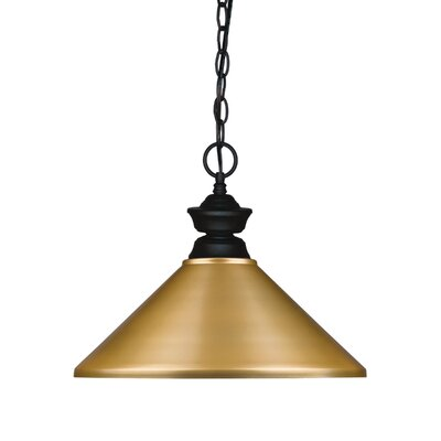 1-Light Pendant Finish: Matte Black, Shade Color: Satin Gold