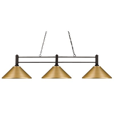 Beeching 3-Light Pool Table Light Shade Color: Satin Gold