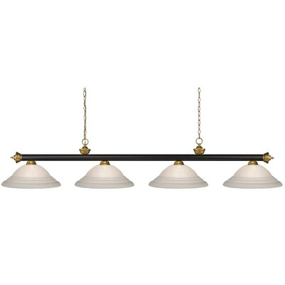 Zephyr 4-Light Bell Shade Pool Table Light