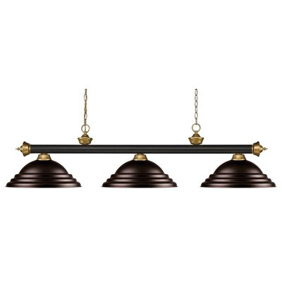 Zephyr 3-Light Bell Shade Pool Table Light