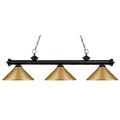Zephyr 3-Light Metal Shade Pool Table Light