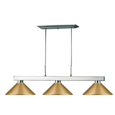 Cobalt 3-Light Pool Table Light Shade Color: Satin Gold