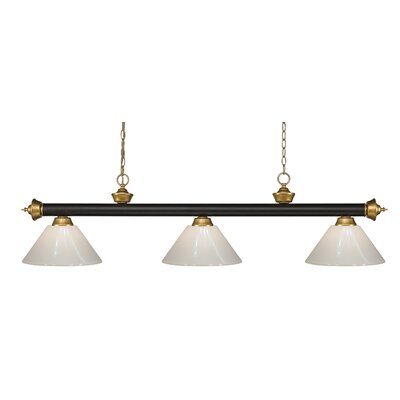 Zephyr 3-Light Cone Shade Pool Table Light with Hanging Chain Shade Color: White