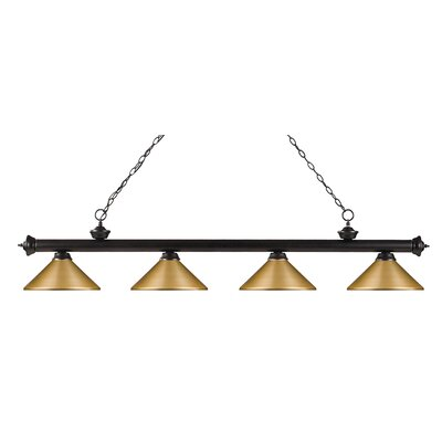 Zephyr 4-Light Steel Pool Table Light Finish: Olde Bronze, Shade Color: Satin Gold Metal, Size: 16 H x 80 W x 14 D