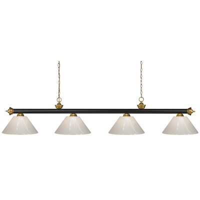 Riviera 4-Light Pool Table Light Shade Color: White