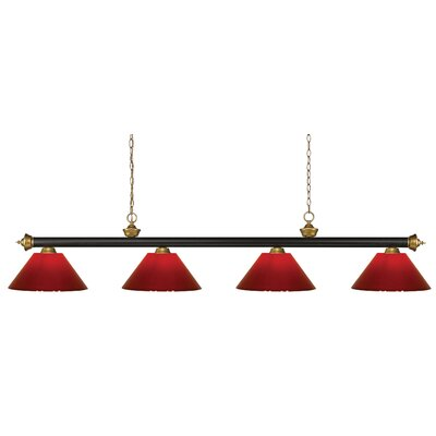 Zephyr 4-Light Cone Shade Pool Table Light Shade Color: Red
