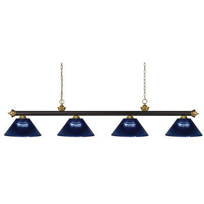 Zephyr 4-Light Steel Pool Table Light with Hanging Chain Shade Color: Dark Blue