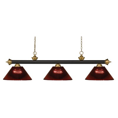 Zephyr 3-Light Cone Shade Pool Table Light Shade Color: Burgundy