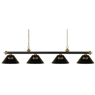 Zephyr 4-Light Steel Pool Table Light with Hanging Chain Shade Color: Smoke