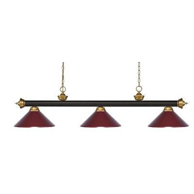 Riviera 3-Light Pool Table Light Shade Color: Dark Wine