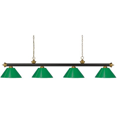 Zephyr 4-Light Cone Shade Pool Table Light Shade Color: Green