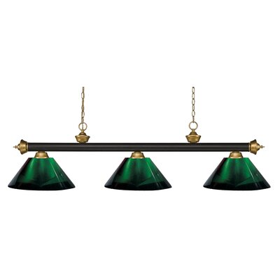 Zephyr 3-Light Cone Shade Pool Table Light Shade Color: Green