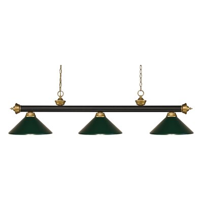 Zephyr 3-Light Pool Table Light Shade Color: Dark Green