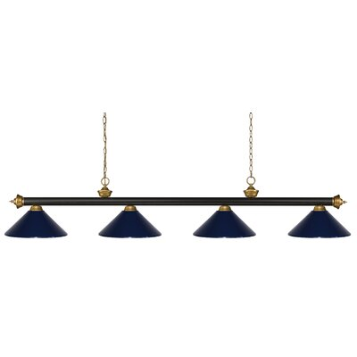 Zephyr 4-Light Cone Metal Shade Pool Table Light Shade Color: Navy Blue