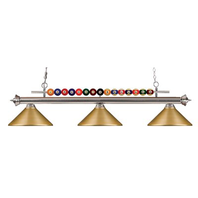 Chapa 3-Light Pool Table Light Finish: Brushed Nickel