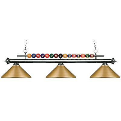 Chapa 3-Light Pool Table Light Finish: Gun Metal