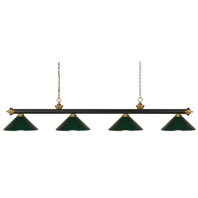 Riviera 4-Light Pool Table Light Shade Color: Dark Green