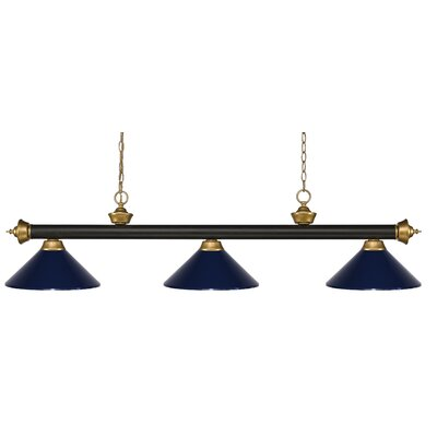 Zephyr 3-Light Pool Table Light Shade Color: Navy Blue