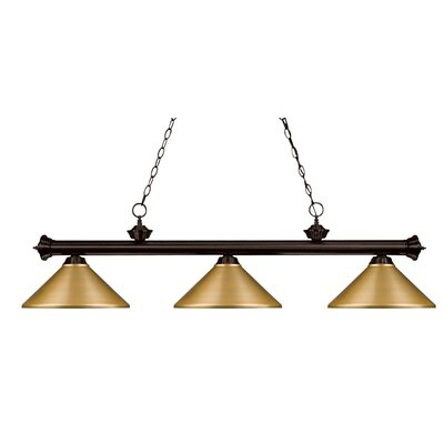 Zephyr 3-Light Pool Table Light with Hanging Chain Finish: Olde Bronze, Shade Color: Satin Gold Metal, Size: 16 H x 57 W x 14 D