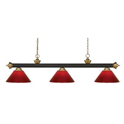 Zephyr 3-Light Cone Shade Pool Table Light with Hanging Chain Shade Color: Red