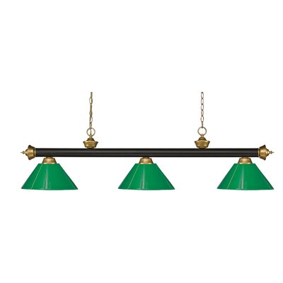 Zephyr 3-Light Cone Shade Pool Table Light with Hanging Chain Shade Color: Green