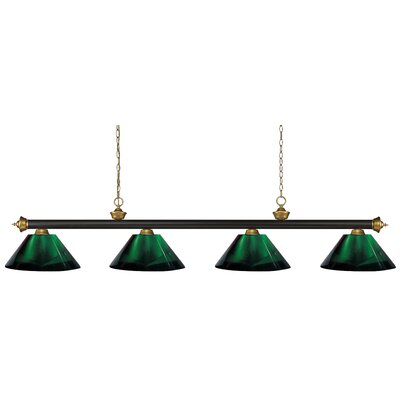 Zephyr 4-Light Steel Pool Table Light with Hanging Chain Shade Color: Green