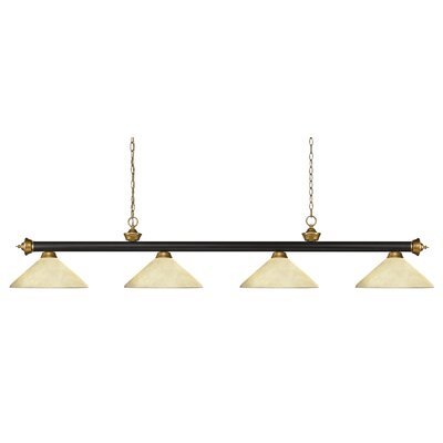 Zephyr 4-Light Cone Glass Shade Pool Table Light with Hanging Chain Shade Color: Angle Golden Mottle