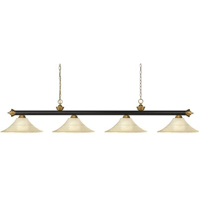 Zephyr 4-Light Cone Shade Pool Table Light with Hanging Chain Shade Color: Fluted Golden Mottle