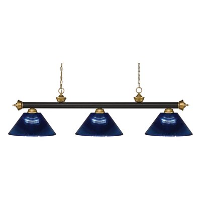 Zephyr 3-Light Cone Shade Pool Table Light Shade Color: Dark Blue
