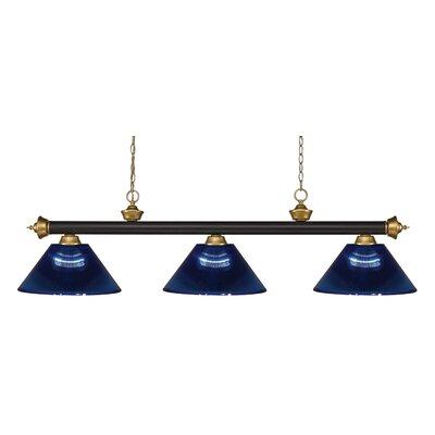 Riviera 3-Light Pool Table Light Shade Color: Dark Blue