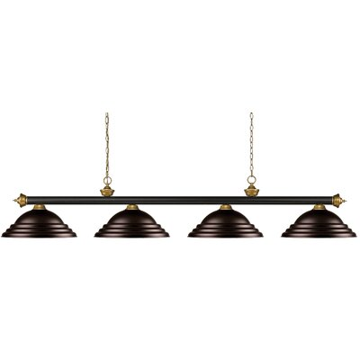 Zephyr 4-Light Metal Shade Pool Table Light Shade Color: Stepped Bronze