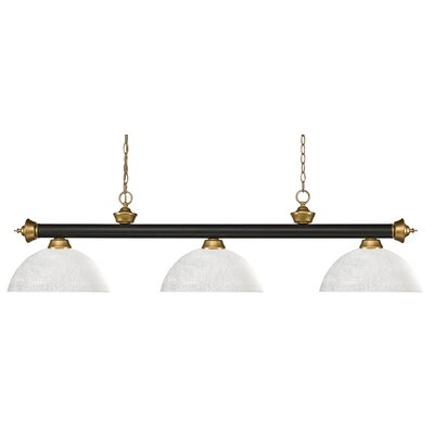 Zephyr 3-Light Bowl Shade Pool Table Light Shade Color: Dome White Linen