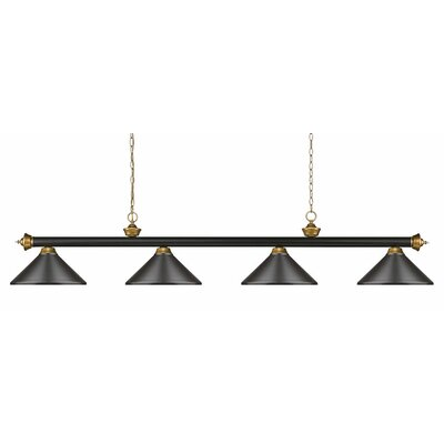 Zephyr 4-Light Steel Pool Table Light Finish: Bronze/Satin Gold, Shade Color: Bronze Metal, Size: 16 H x 80 W x 14 D