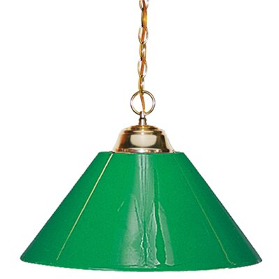 1-Light Pendant Finish: Polished Brass with Green Shade