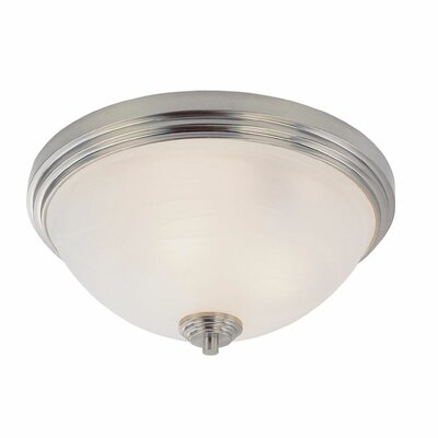 Chelsey Flush Mount Size: 6.5 H x 14 W, Finish: Brushed Nickel