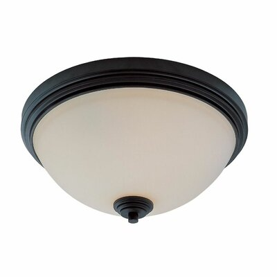 Fullwood Flush Mount Size: 6.38 H x 12 W, Finish: Dark Bronze
